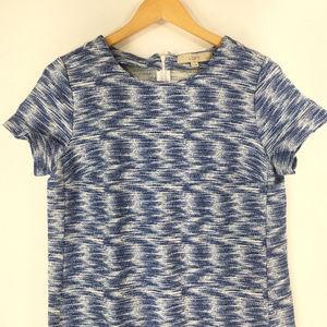 Ann Taylor LOFT 8P Blue White Shift Sheath Dress